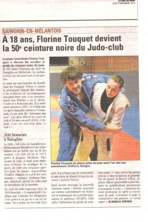 LA VOIX DU NORD 081112, la 50ème, avec Florine TOUQUET